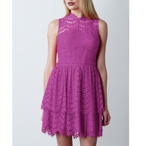 Adelyn Rae Dress Pink Lace with Layered Skirt XS